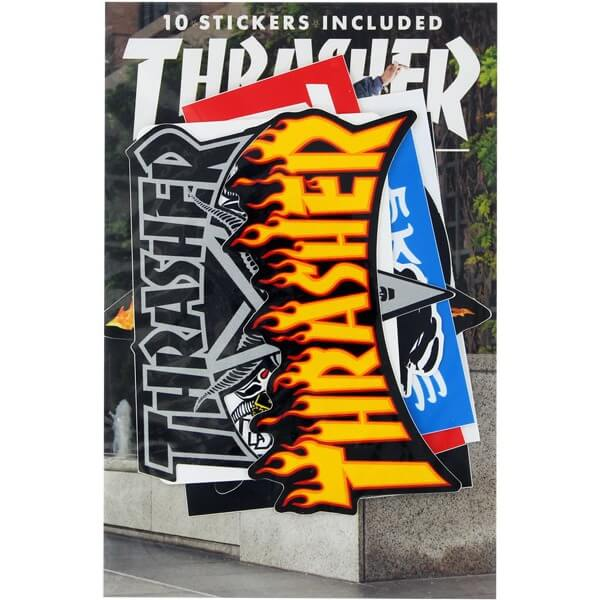 Thrasher Magazine 10 Pack Assorted Colors 10 Sticker Pack