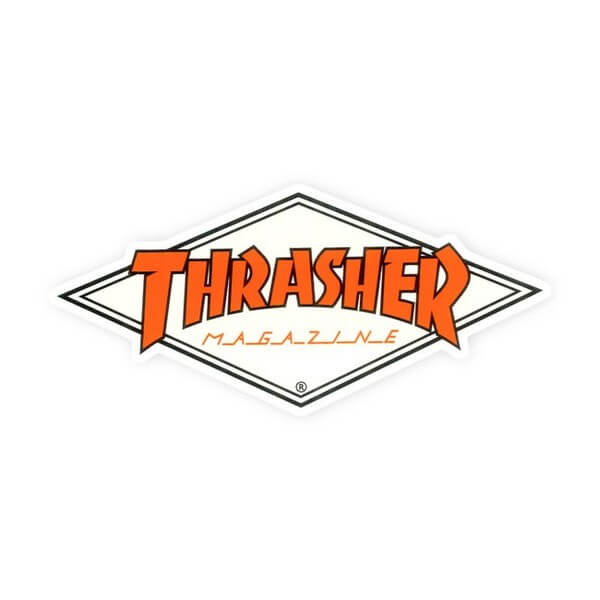 "Thrasher Magazine Diamond Logo Assorted Colors Skate Sticker - 2"" x 4 1/8"""