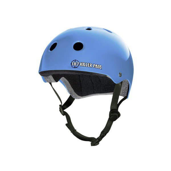 "187 Killer Pads Pro Light Blue Skate Helmet - Medium / 21.4"" - 22"""