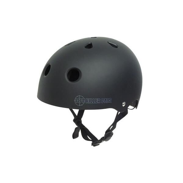 "187 Killer Pads Pro Matte Black Skate Helmet - Large / 22.1"" - 22.9"""