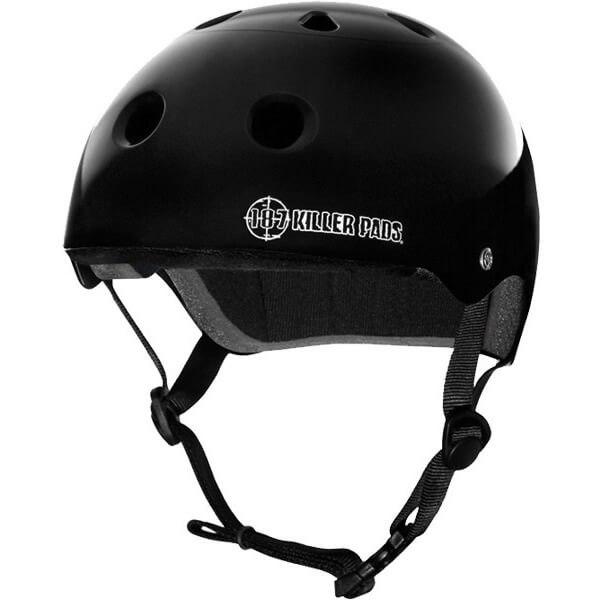 "187 Killer Pads Pro Gloss Black Skate Helmet - Large / 22.1"" - 22.9"""