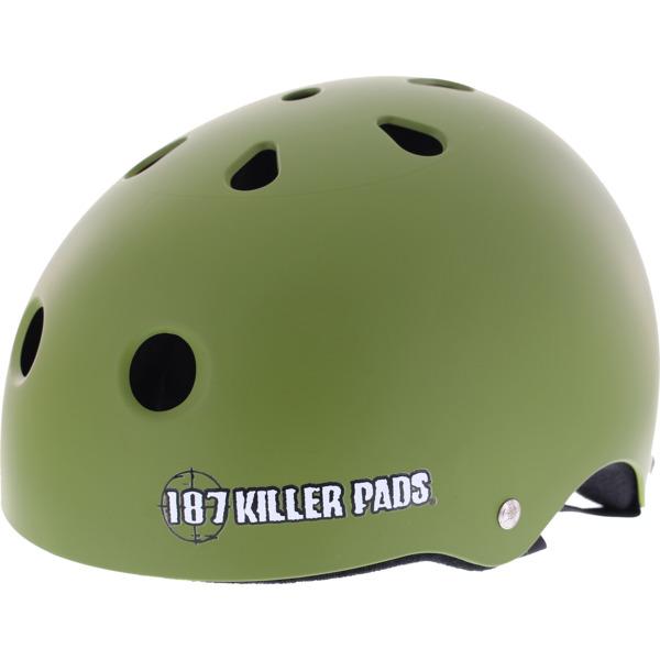 "187 Killer Pads Pro Matte Army Skate Helmet - Large / 22.1"" - 22.9"""