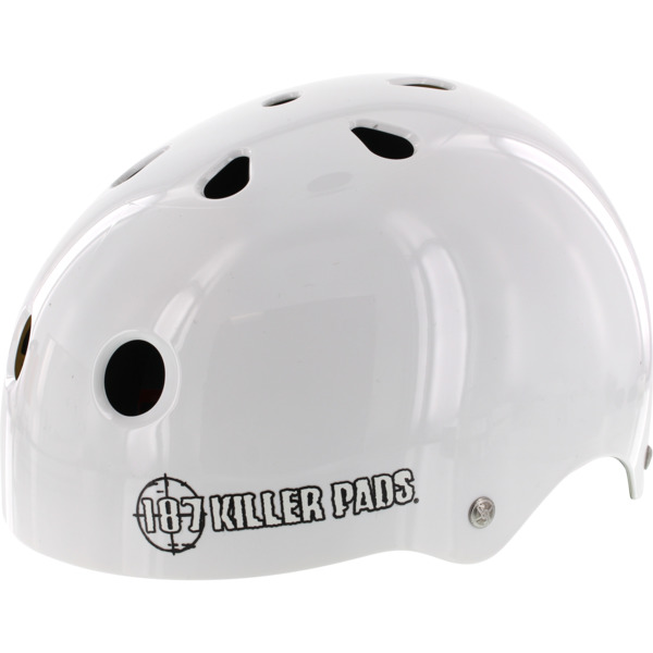 "187 Killer Pads Pro Sweatsaver Gloss White Skate Helmet - Medium / 21.4"" - 22"""