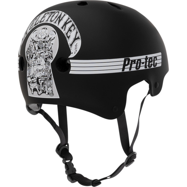 "ProTec Classic Old School Skeleton Key Black / White Skate Helmet CPSC Certified - Small / 21.3"" - 22"""