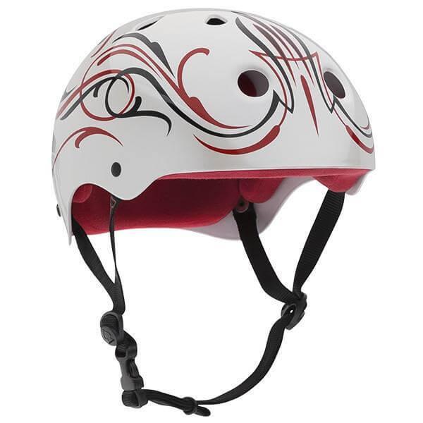 """ProTec Steve Caballero Classic Gloss White / Red / Black Pinstripe Skate Helmet - X-Large / 23.6"""" - 24.4"""""""
