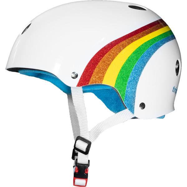"""Triple 8 Certified Sweatsaver White / Rainbow Sparkle Skate Helmet CPSC Certified - (Certified) - S/M 21"""" - 22.5"""""""