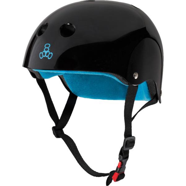 """Triple 8 Certified Sweatsaver Black Gloss / Blue Skate Helmet CPSC Certified - (Certified) - L/XL 22.5"""" - 23.5"""""""
