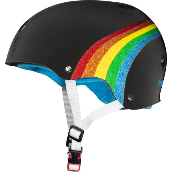 """Triple 8 Certified Sweatsaver Black / Rainbow Sparkle Skate Helmet CPSC Certified - (Certified) - L/XL 22.5"""" - 23.5"""""""