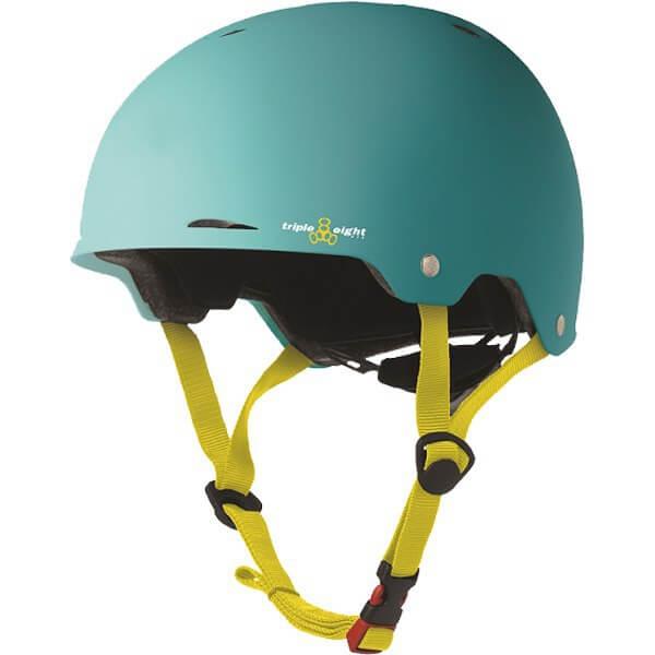 """Triple 8 Gotham Baja Teal Rubber Skate Helmet Dual Certified CPSC & ASTM - (Certified) - L/XL 23.2"""" - 24"""""""