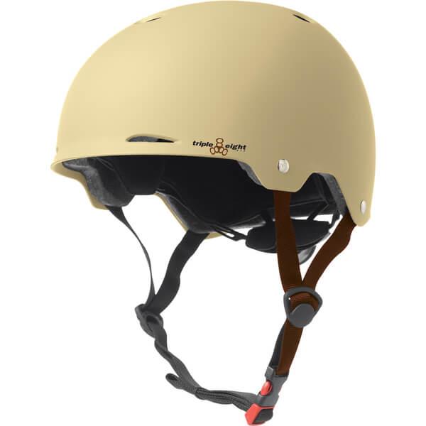 "Triple 8 Gotham Cream Matte Rubber Skate Helmet Dual Certified CPSC & ASTM - (Certified) - L/XL 23.2"" - 24"""