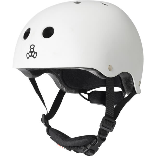 "Triple 8 Lil 8 with EPS Liner White Glossy Skate Helmet Dual Certified CPSC & ASTM - (Certified) - Youth 18"" - 20.5"""
