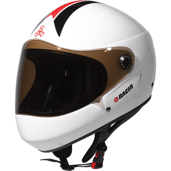 """Triple 8 T8 Racer with EPS Liner White Glossy Downhill Race Helmet - (Certified) - X-Small / 20.1"""" - 20.5"""""""