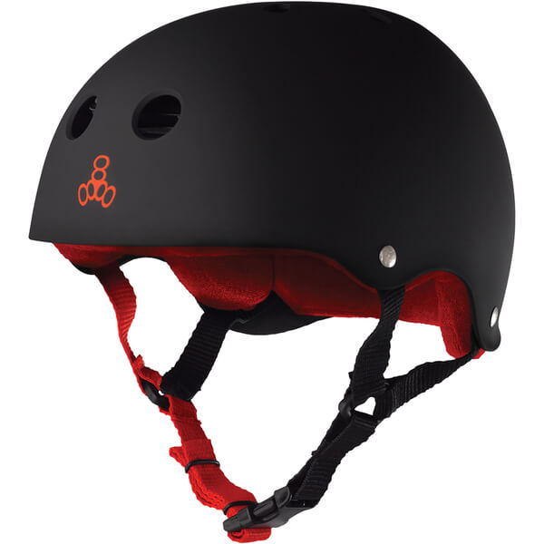 "Triple 8 Sweatsaver Helmet with Sweatsaver Liner Black Rubber Skate Helmet - Large / 22.1"" - 22.9"""