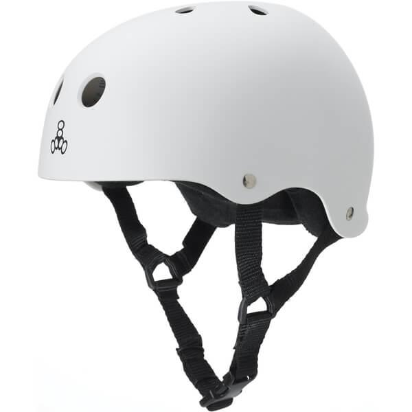 "Triple 8 Sweatsaver Helmet with Sweatsaver Liner White Rubber Skate Helmet - X-Large / 23"" - 24"""
