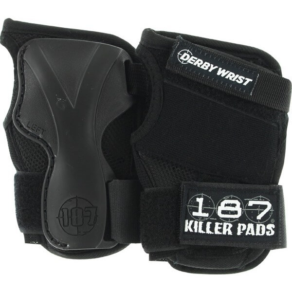 187 Killer Pads Derby Black Wrist Guards - Medium