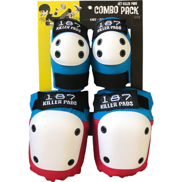 187 Killer Pads Combo Pack Red / White / Blue Knee & Elbow Pad Set - Large / X-Large