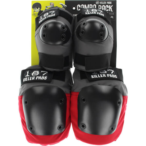 187 Killer Pads Combo Pack Grey / Red Knee & Elbow Pad Set - Large / X-Large