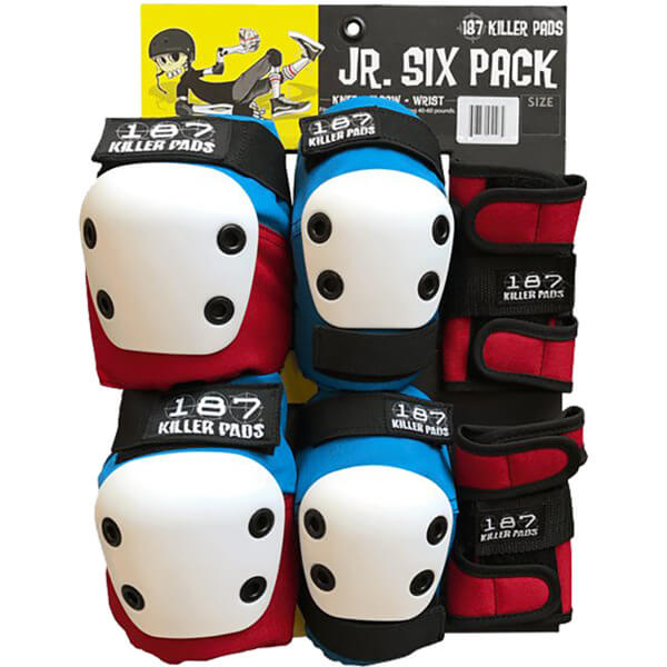 187 Killer Pads Jr. Six Pack Red / White / Blue Knee, Elbow, & Wrist Pad Set - Junior