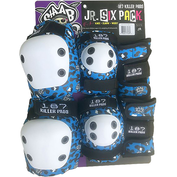 187 Killer Pads Staab 6-Pack Blue Knee, Elbow, Wrist Set - Junior