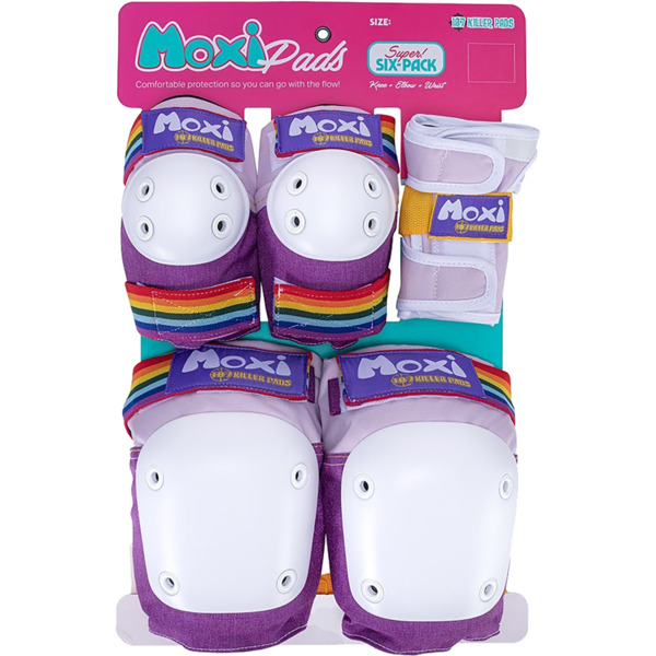 187 Killer Pads Adult Six Pack Moxi Lavender Knee, Elbow, & Wrist Pad Set - X-Small