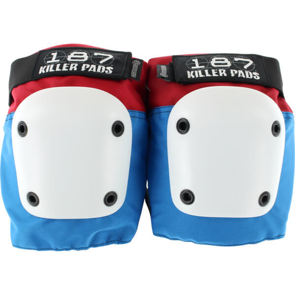 187 Killer Pads Fly Red / White / Blue Knee Pads - Medium