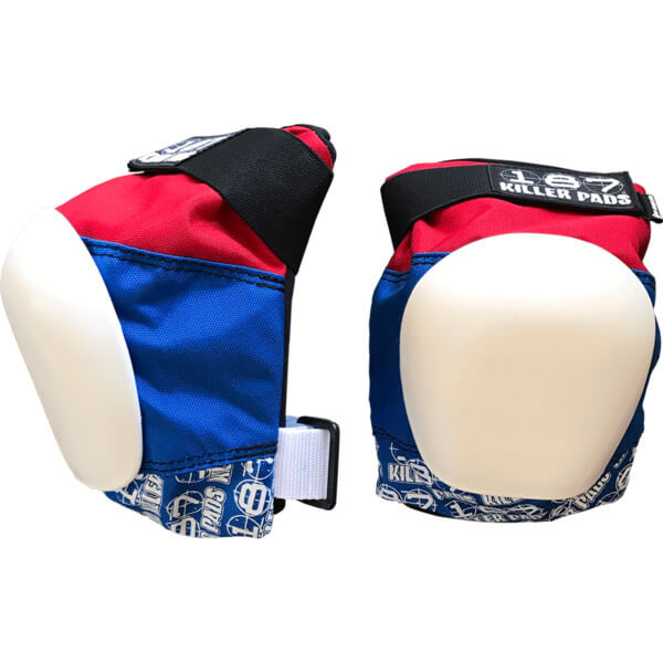 187 Killer Pads Pro Red / White / Blue Knee Pads - Small