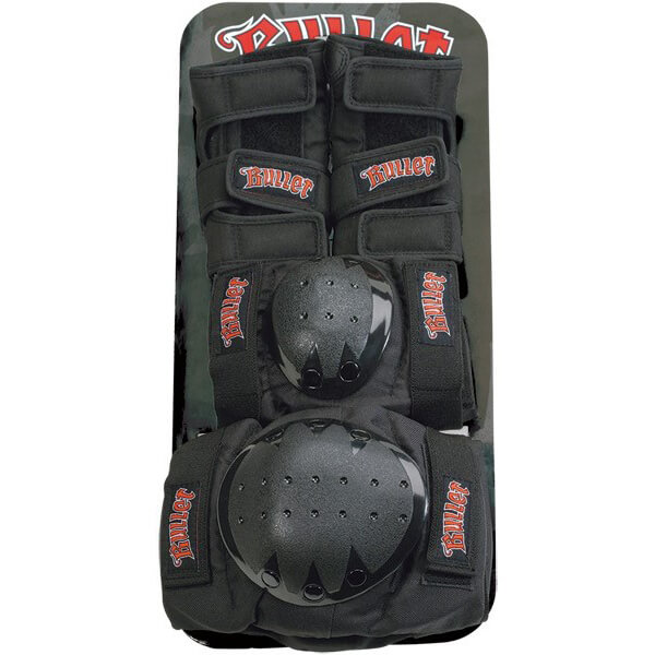 Bullet Skateboards Black Knee, Elbow, & Wrist Pad Set - Junior