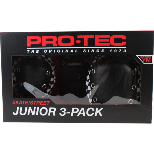 ProTec Junior Checker Black / White Knee, Elbow, & Wrist Pad Set - Youth Medium