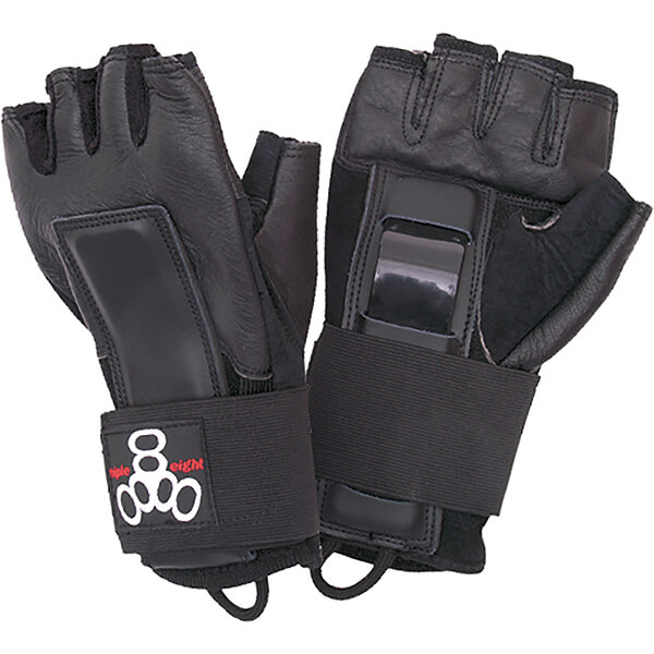 Triple 8 Hired Hands Black Wrist Guards - X-Large