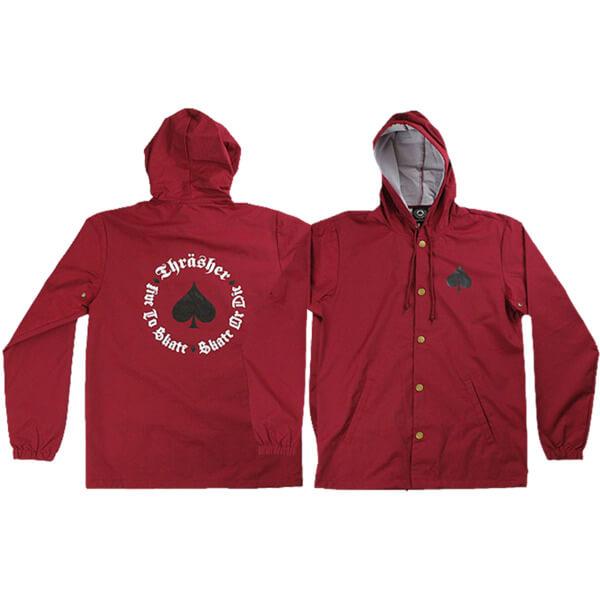 Thrasher Magazine New Oath Cardinal Red / Black Coaches Jacket - Medium