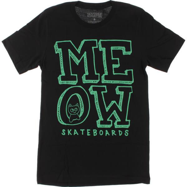 Meow Skateboards Stacked Logo Black Women's T-Shirt - X-Large