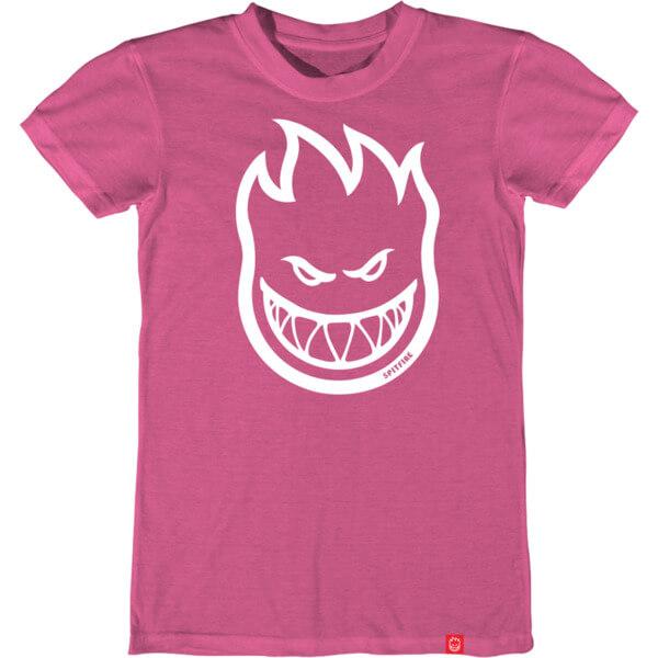 Spitfire Wheels Bighead Pink / White Girl's Short Sleeve T-Shirt - Medium