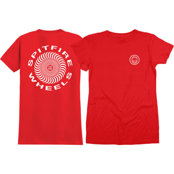 Spitfire Wheels Retro Red Girl's Short Sleeve T-Shirt - Small