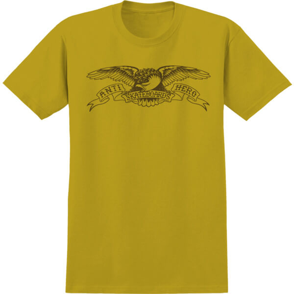 Anti Hero Skateboards Basic Eagle Mustard / Brown Men's Short Sleeve T-Shirt - Large