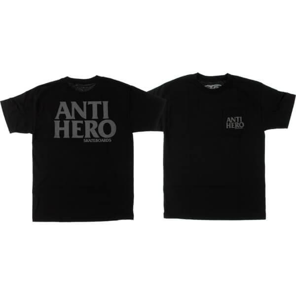 Anti Hero Skateboards Blackhero Pocket Black / Reflective Pocket Short Sleeve T-Shirt - X-Large