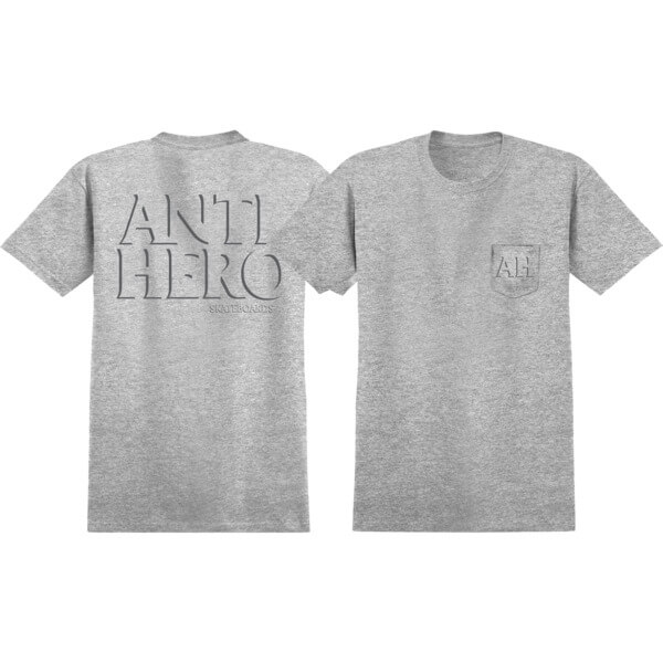 Anti Hero Skateboards Drop Hero Charcoal Heather Short Sleeve Pocket T-Shirt - Small
