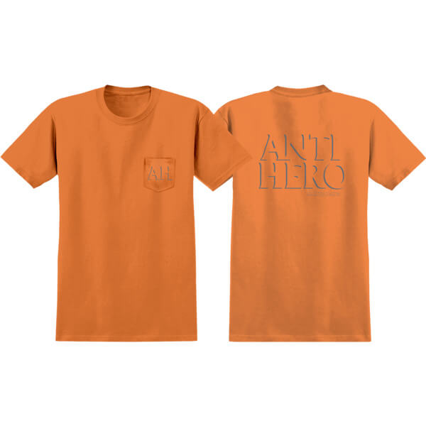 Anti Hero Skateboards Drop Hero Orange / Reflective Short Sleeve Pocket T-Shirt - Large
