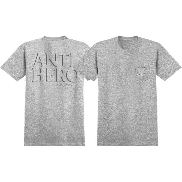 Anti Hero Skateboards Drophero Charcoal Heather Short Sleeve Pocket T-Shirts - X-Large