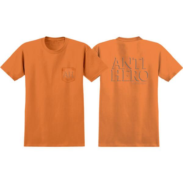 Anti Hero Skateboards Drop Hero Orange / Reflective Short Sleeve Pocket T-Shirt - X-Large