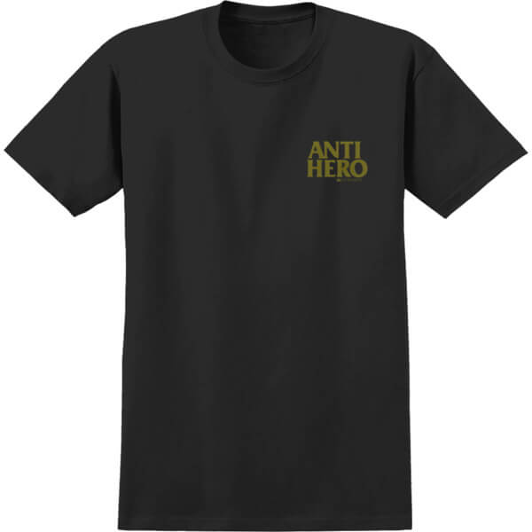 Anti Hero Skateboards Lil Black Hero Black / Gold Men's Short Sleeve T-Shirt - Small