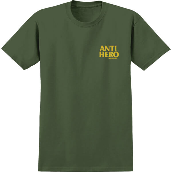 Anti Hero Skateboards Lil Black Hero Military Green / Yellow Men's Short Sleeve T-Shirt - Medium