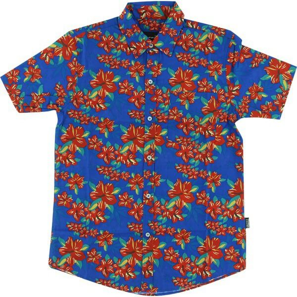 Grizzly Grip Tape Tropical High Blue Short Sleeve Button Up - XX-Large