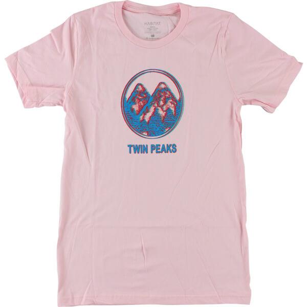 Habitat Skateboards Twin Peaks Offset Peaks Pink Men's Short Sleeve T-Shirt - X-Large