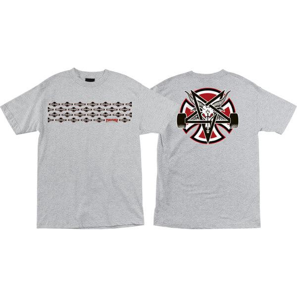 Independent Thrasher Pentagram Cross Heather Grey Men's Short Sleeve T-Shirt - Small