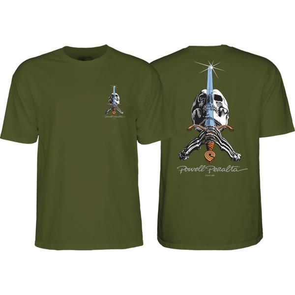 Powell Peralta Skull & Sword Military Green Men's Short Sleeve T-Shirt - Small