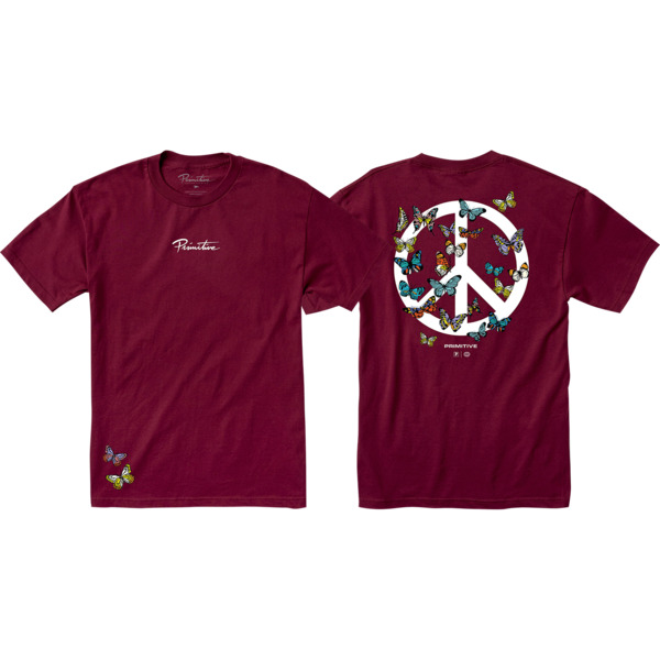 Primitive Skateboarding Code Burgundy Men's Short Sleeve T-Shirt - X-Large