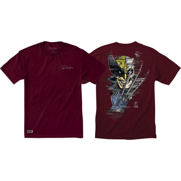 Primitive Skateboarding Wolverine Burgundy Men's Short Sleeve T-Shirt - Small