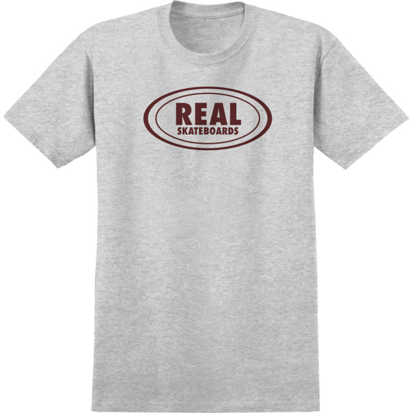 Real Skateboards Oval Athletic Heather / Burgundy Men's Short Sleeve T-Shirt - Small