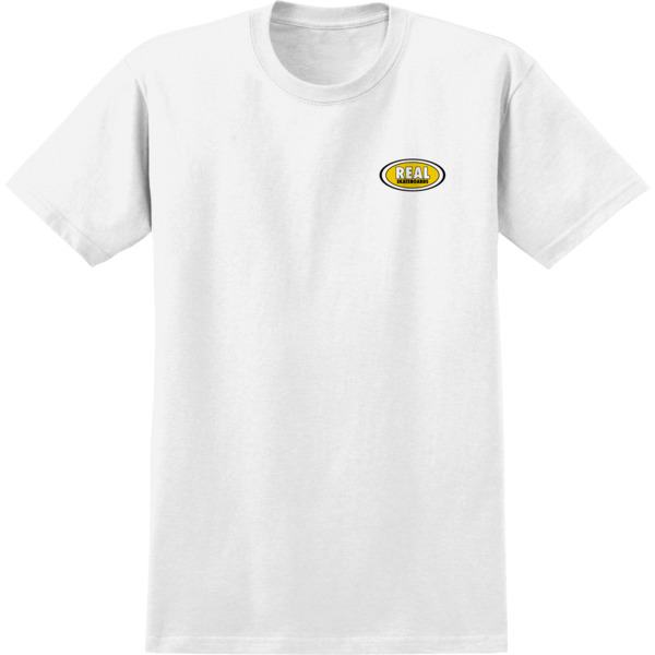 Real Skateboards Oval Small White / Yellow Men's Short Sleeve T-Shirt - Small