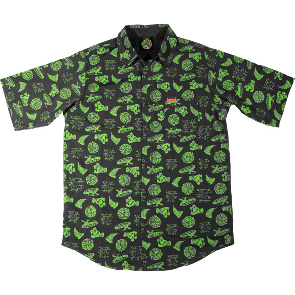 Santa Cruz Skateboards TMNT Cowabunga Black / Green Button-Up Short Sleeve T-Shirt - Small